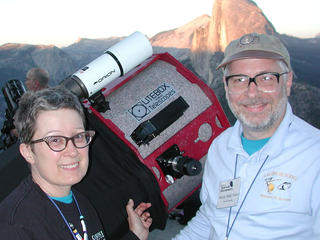 "Jane Houston Jones and Morris ""Mojo"" Jones at the Glacier Point star party in Yosemite National Park."